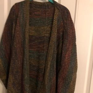 Sweaters - Brown sweater w/mixed colors of teal, red & gold.